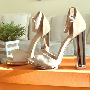 Tan suede mirrored high heels